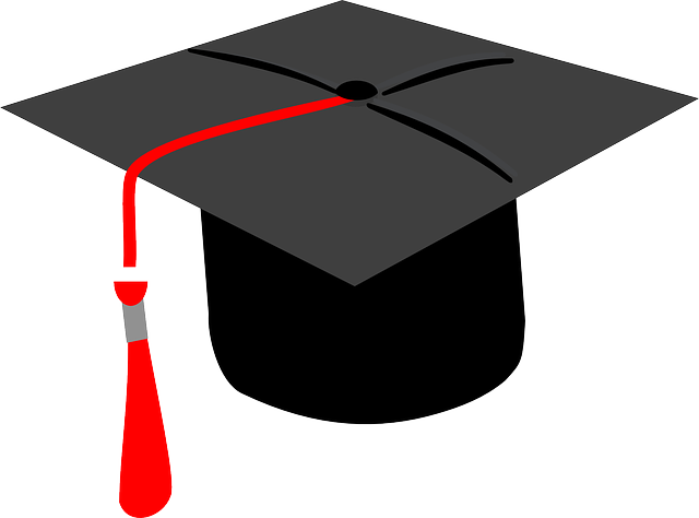 Black graduation cap with red tassle